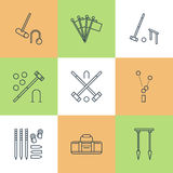 Croquet sport game vector line icons. Ball, mallets, hoops, pegs, corner flags. Garden, lawn activities signs set Stock Photography
