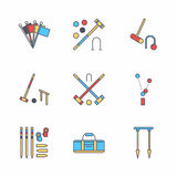 Croquet sport game vector line icons. Ball, mallets, hoops, pegs, corner flags. Garden, lawn activities signs set Royalty Free Stock Image