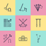 Croquet sport game vector line icons. Ball, mallets, hoops, pegs, corner flags. Garden, lawn activities signs set Stock Photo