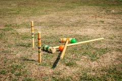 Croquet sports equipment in a field. stock photography