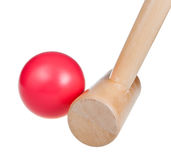 Croquet wooden ball and mallet Royalty Free Stock Photography