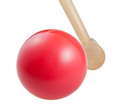Croquet wooden ball and mallet Stock Photos