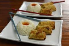 Croquetas chinas con arroz Fotografía de archivo libre de regalías