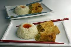 Croquetas chinas con arroz Fotografía de archivo