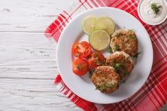 Croquetas de pescados calientes con eneldo y salsa en la tabla top horizontal Fotos de archivo libres de regalías