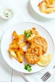 Croquetas de pescados con las patatas fritas Fotografía de archivo