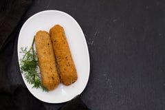 Croquetes мяса на белом блюде Стоковая Фотография RF