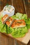Croquetes deliciosos com mergulho da carne e da maionese Imagens de Stock