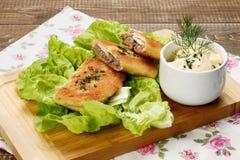 Croquetes deliciosos com mergulho da carne e da maionese Fotos de Stock