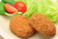 Croquette. This is called a croquette with Western food stock photo