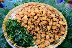 Croquette de poisson thaïlandaise de nourriture (Tod Mun Pla Krai), cuisine thaïlandaise traditionnelle, profondeur de champ Image libre de droits