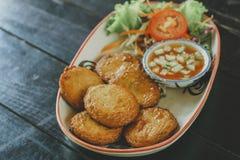 Croquette de poisson thaïlandaise de nourriture image stock
