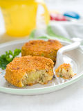 Croquette. Fish and potato pancake or croquette. Shot for a story on homemade, organic, healthy baby foods Stock Images