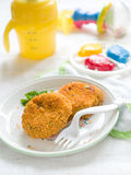 Croquette. Fish and potato pancake or croquette. Shot for a story on homemade, organic, healthy baby foods Stock Photo