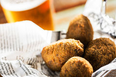 Croquettes and beer Royalty Free Stock Images
