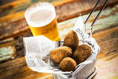 Croquettes and beer Royalty Free Stock Photos