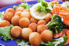 Croquettes with carrot and broccoli Stock Photos