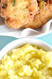 Croquettes of cod fish and garlic dip Stock Images