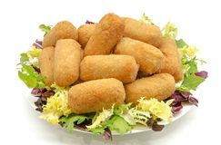 Croquettes. Delicious bechamel croquettes on white background Stock Image