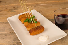 Croquettes with fancy tothpicks Stock Photo
