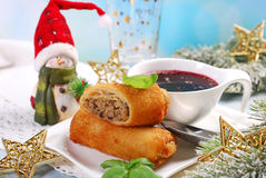 Croquettes and red borscht for christmas eve Stock Photo