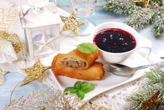 Croquettes and red borscht for christmas eve Royalty Free Stock Image