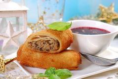 Croquettes and red borscht for christmas eve Royalty Free Stock Photos