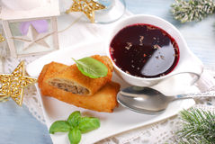 Croquettes and red borscht for christmas eve Royalty Free Stock Photo