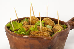 Croquettes with salad Stock Photo