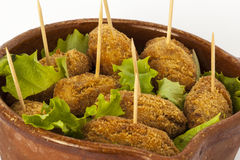 Croquettes with salad Royalty Free Stock Photography