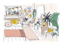 Croquis à main levée de chambre à coucher confortable meublé dans le style scandinave Pièce complètement des meubles et de la mai illustration libre de droits