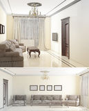 croquis 3D d'un salon intérieur Image stock