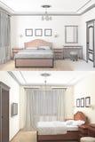 croquis 3D d'une chambre à coucher intérieure Photos libres de droits