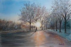 Croquis abstrait d'aquarelle de paysage d'hiver images libres de droits
