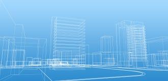Croquis abstrait des bâtiments Photos libres de droits