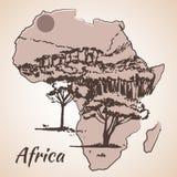 Croquis africain de vue sur la carte Photos stock
