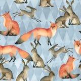 Croquis animal de forêt réaliste d'aquarelle renard rouge, lapin, lièvre Configuration sans joint illustration stock