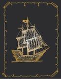 Croquis antique de bateau, croquis tiré par la main de bateau de pirate illustration stock