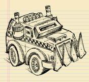 Croquis apocalyptique de camion de véhicule Image libre de droits