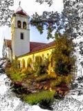 Croquis, aquarelle, église de style de mission de la Californie avec la tour de cloche, voûte et toit de tuile d'argile photographie stock