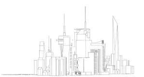 Croquis architectural abstrait de dessin, ville Scape illustration de vecteur