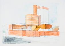 Croquis architectural du bâtiment moderne illustration libre de droits