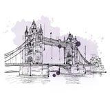 Croquis artistique du pont de tour, Londres illustration de vecteur