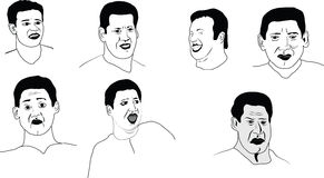 Croquis au sujet des émotions d'un homme Image stock
