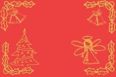 Croquis avec l'ange, l'arbre de Noël et les cloches sur le rouge Photos stock