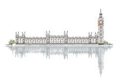 Croquis, Big Ben et Chambres du Parlement Images libres de droits