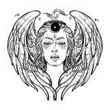 Croquis blanc de BW de déesse illustration libre de droits