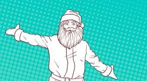 Croquis blanc de conception comique d'affiche de Noël de fond de Santa Claus On Colorful Pop Art Photos stock