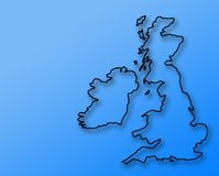 Croquis BRITANNIQUE approximatif sur le bleu Image stock