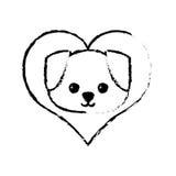 croquis canin d'amour de chien jeune illustration de vecteur